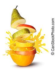 rebanadas, jugo, fruta, explosión