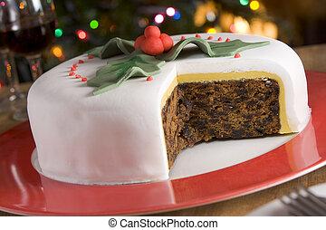 rebanadas, pastel, fruta, tomado, adornado, navidad