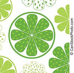 rebanadas, patrón, o, plano de fondo, -, verde, y, cal, blanco