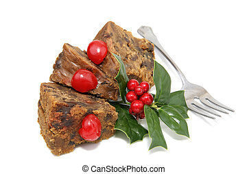 rebanadas, tenedor, fruitcake