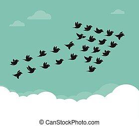 rebanho pássaros, voando, em, a, céu, em, um, seta, trabalho equipe, conceito