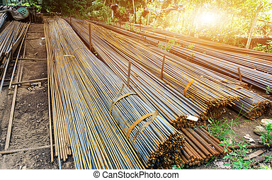 Rebar on construction site