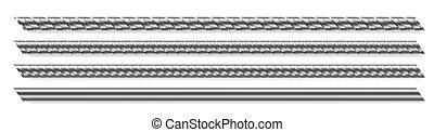 rebar, vector, barras, reforzado, acero, metal