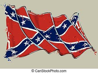 Rebel Artistic Brush Stroke Waving Flag