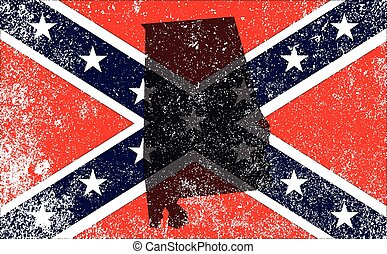 The flag of the confederates during the American Civil War with Alabama map silhouette overlay
