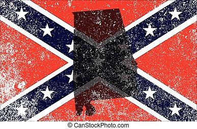 Rebel Civil War Flag With Alabama Map