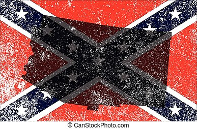 The flag of the confederates during the American Civil War with Arizona map silhouette overlay