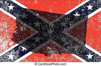 Rebel Civil War Flag With Arizona Map