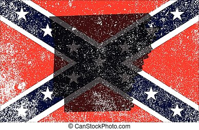 The flag of the confederates during the American Civil War with Arkansas map silhouette overlay
