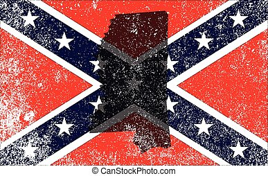 The flag of the confederates during the American Civil War with Mississippi map silhouette overlay
