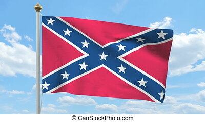 Rebel confederate flag waving