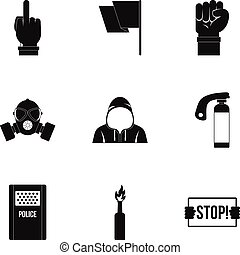Rebel demonstration icon set, simple style