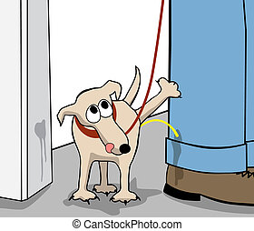 Editable vector cartoon of a small dog urinating on its owner's leg
