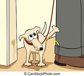 Rebel dog - Editable vector cartoon of a small dog urinating...