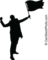 Rebel Flag - A rebellious protester holding a flag.