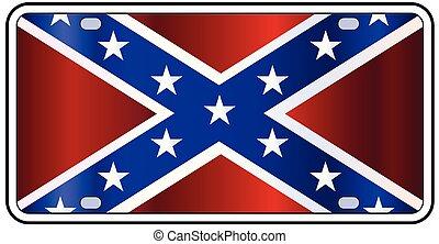 Rebel Flag License Plate - Rebel License Plate with flag of...