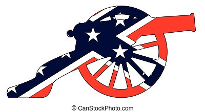 Typical American civil war cannon gun with Southern Rebel flag isolated on a white background