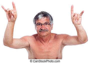 Rebel man gesturing - Naked middle aged man rebel gesturing,...