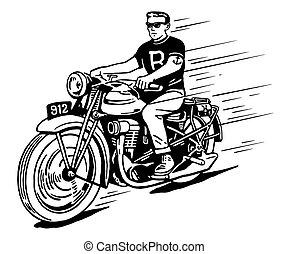 Rebel on vintage motorcycle - Illustration of rebel on...