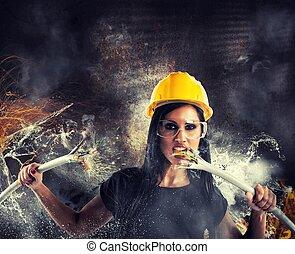 Rebel sexy girl - Sexy rebel girl breaks big electrical...