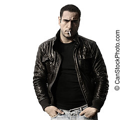Rebel type guy in leather jacket - Portrait of a rebel type...