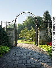 Rebirth? - Light beckons through a stone and iron gateway.