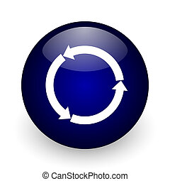 Reblue yellow glossy web blue glossy ball web icon on white background. Round 3d render button.