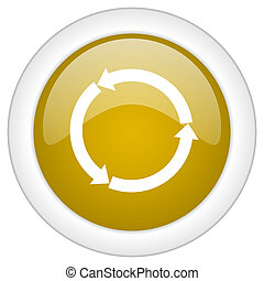 reblue yellow glossy web icon, golden round glossy button, web and mobile app design illustration