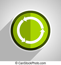 reblue yellow glossy web icon, green circle flat design internet button, web and mobile app illustration