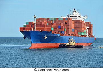 rebocador, ajudar, navio recipiente, carga