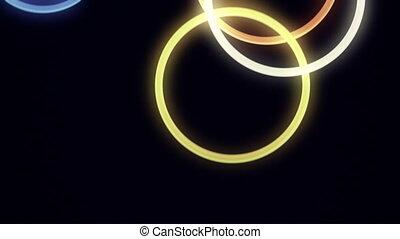 rebondir, tomber, anneaux, boucle, néon
