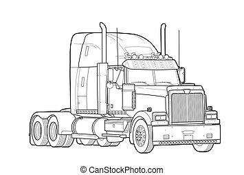 reboque, americano, pretas, branca, caminhão, esboço