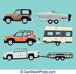 reboque, bote, veículo, desenho, casa