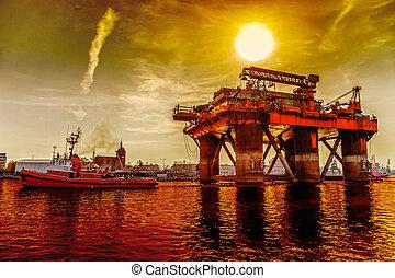 reboque, equipamento óleo