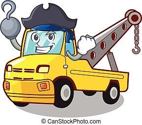 reboque, isolado, caricatura, corda, caminhão, pirata