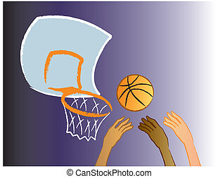 Rebound - Basketball players going for a rebound.