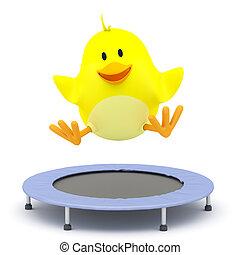 Little chick jumping on Trampoline - 3D render