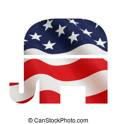 Rebublican Elephant with Flag - American flag superimposed...