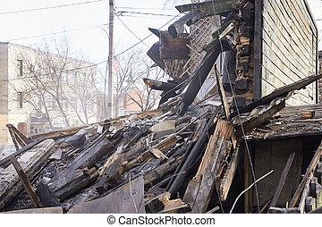 rebuilding, city., 掘削機, 家, process., 取除きなさい, 装置, 使うこと, 破壊