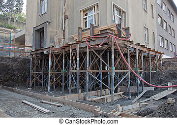 Rebuilding house foundation - Reconstruction of the building...