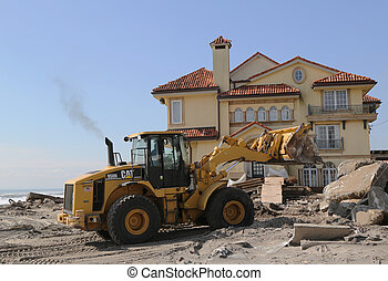 rebuilding, után, hurrikán, homokos