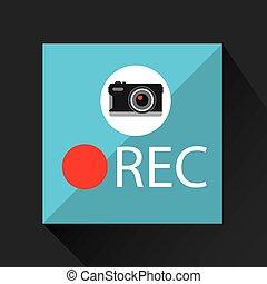 rec, bouton, appareil photo, photographique, retro