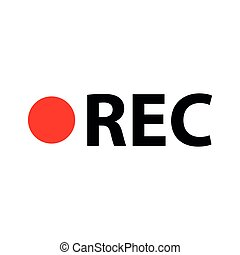rec icon - black vector