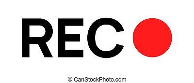 rec, logo, symbole, icon., icône, appareil photo, vidéo, signe, rouges, enregistrement