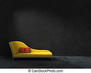 recamier, parede, pretas, amarela