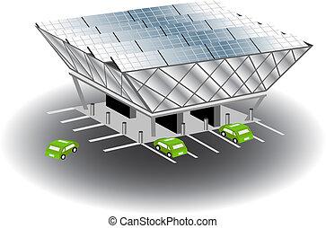 recarregar, estação, solar