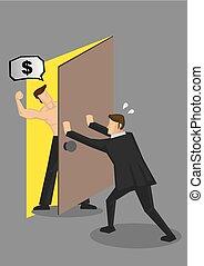 recaudador, vector, ilustración, deuda, paliza, hombre de...
