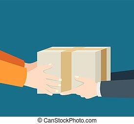 recebendo, entregar, pacote
