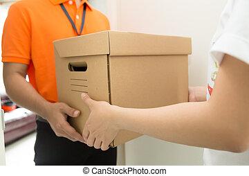 receber, entrega, fregueses, bens, homem