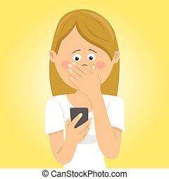 recebido, mulher, dela, cobertura, móvel, jovem, preocupado, telefone, mau, boca, segurando, mensagem, mão